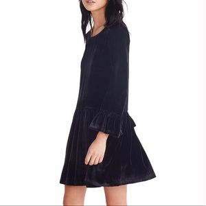 Madewell velvet bell sleeve drop waist dress XS
